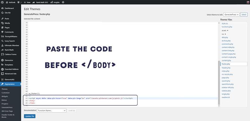paste pinterest code in footer