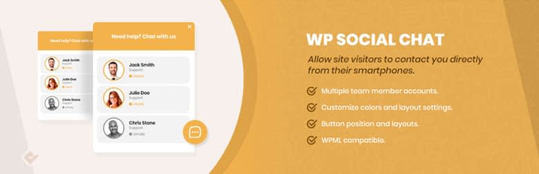 wp social chat plugin use