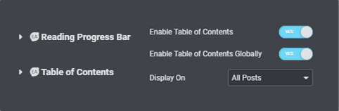 enabling floating table of contents