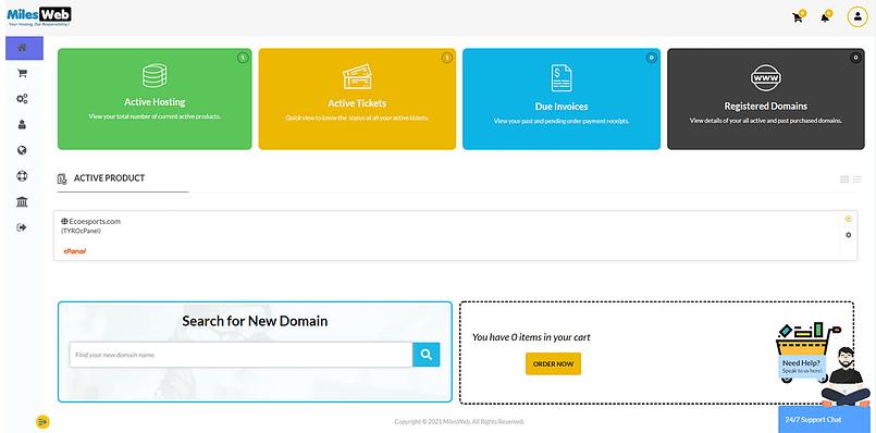 milesweb hosting dashboard