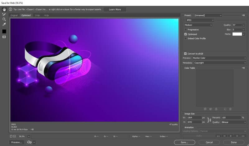 optimize images for wordpress in photoshop